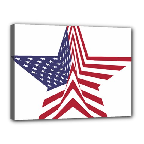A Star With An American Flag Pattern Canvas 16  x 12