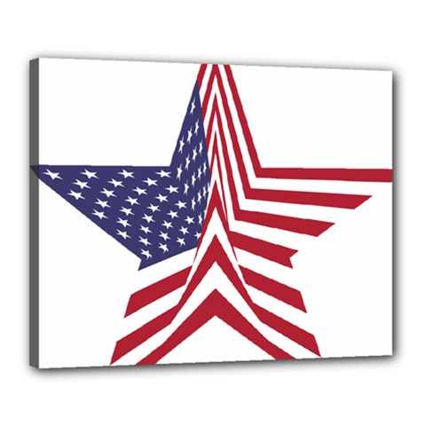 A Star With An American Flag Pattern Canvas 20  x 16