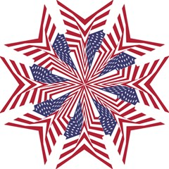 A Star With An American Flag Pattern Hook Handle Umbrellas (Medium)