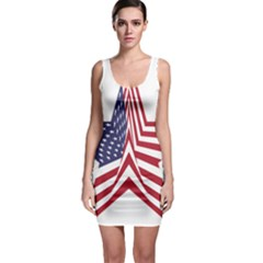 A Star With An American Flag Pattern Sleeveless Bodycon Dress