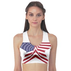 A Star With An American Flag Pattern Sports Bra