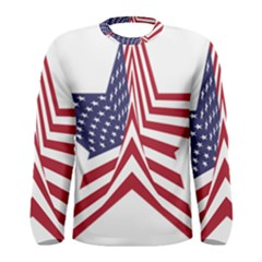 A Star With An American Flag Pattern Men s Long Sleeve Tee
