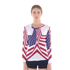 A Star With An American Flag Pattern Women s Long Sleeve Tee