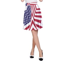 A Star With An American Flag Pattern A Line Skirt