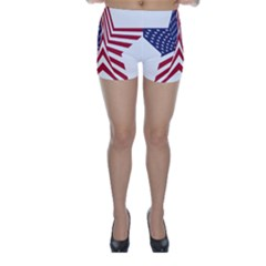 A Star With An American Flag Pattern Skinny Shorts