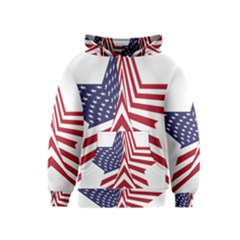A Star With An American Flag Pattern Kids  Pullover Hoodie