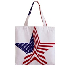 A Star With An American Flag Pattern Zipper Grocery Tote Bag