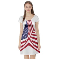 A Star With An American Flag Pattern Short Sleeve Skater Dress