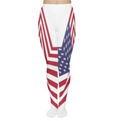A Star With An American Flag Pattern Women s Tights