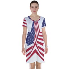 A Star With An American Flag Pattern Short Sleeve Nightdress