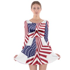 A Star With An American Flag Pattern Long Sleeve Skater Dress