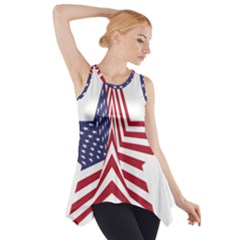 A Star With An American Flag Pattern Side Drop Tank Tunic