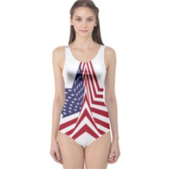 A Star With An American Flag Pattern One Piece Swimsuit