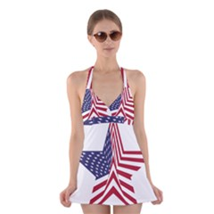 A Star With An American Flag Pattern Halter Swimsuit Dress