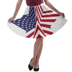 A Star With An American Flag Pattern A Line Skater Skirt