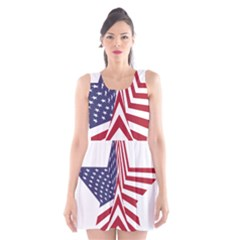 A Star With An American Flag Pattern Scoop Neck Skater Dress