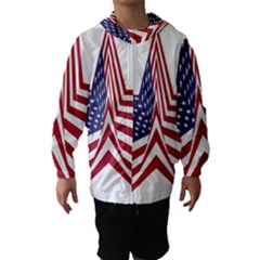 A Star With An American Flag Pattern Hooded Wind Breaker (Kids)