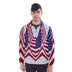 A Star With An American Flag Pattern Wind Breaker (men)