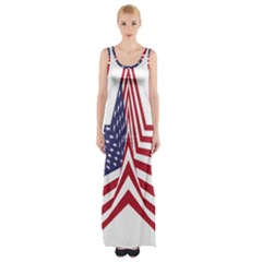 A Star With An American Flag Pattern Maxi Thigh Split Dress