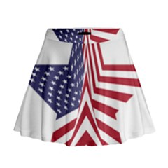 A Star With An American Flag Pattern Mini Flare Skirt