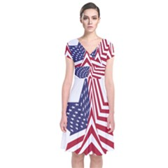 A Star With An American Flag Pattern Short Sleeve Front Wrap Dress