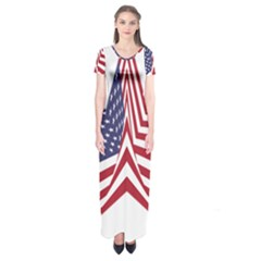 A Star With An American Flag Pattern Short Sleeve Maxi Dress