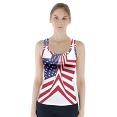 A Star With An American Flag Pattern Racer Back Sports Top