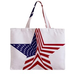 A Star With An American Flag Pattern Medium Zipper Tote Bag