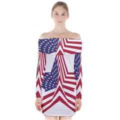 A Star With An American Flag Pattern Long Sleeve Off Shoulder Dress
