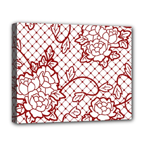 Transparent Decorative Lace With Roses Deluxe Canvas 20  x 16