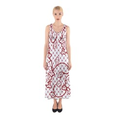 Transparent Decorative Lace With Roses Sleeveless Maxi Dress
