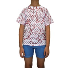 Transparent Decorative Lace With Roses Kids  Short Sleeve Swimwear