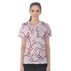 Transparent Decorative Lace With Roses Women s Cotton Tee