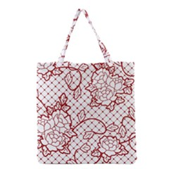Transparent Decorative Lace With Roses Grocery Tote Bag