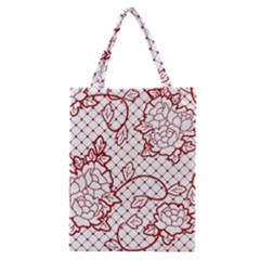 Transparent Decorative Lace With Roses Classic Tote Bag