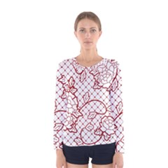 Transparent Decorative Lace With Roses Women s Long Sleeve Tee