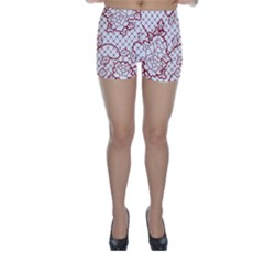 Transparent Decorative Lace With Roses Skinny Shorts