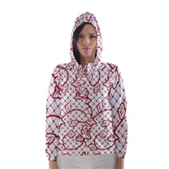 Transparent Decorative Lace With Roses Hooded Wind Breaker (women)