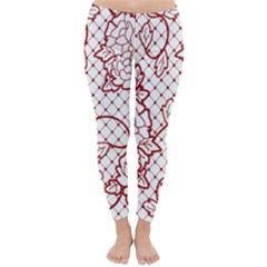 Transparent Decorative Lace With Roses Classic Winter Leggings