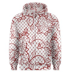Transparent Decorative Lace With Roses Men s Zipper Hoodie