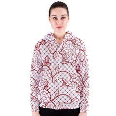 Transparent Decorative Lace With Roses Women s Zipper Hoodie