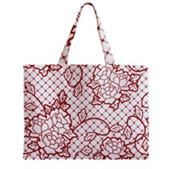 Transparent Decorative Lace With Roses Zipper Mini Tote Bag