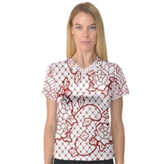 Transparent Decorative Lace With Roses Women s V Neck Sport Mesh Tee