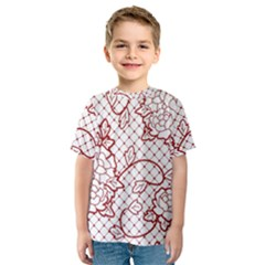 Transparent Decorative Lace With Roses Kids  Sport Mesh Tee