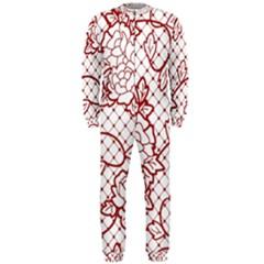 Transparent Decorative Lace With Roses Onepiece Jumpsuit (men)