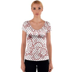 Transparent Decorative Lace With Roses Women s V-Neck Cap Sleeve Top