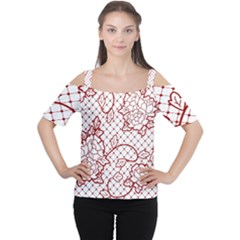 Transparent Decorative Lace With Roses Women s Cutout Shoulder Tee