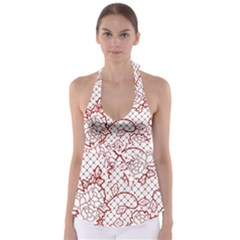 Transparent Decorative Lace With Roses Babydoll Tankini Top