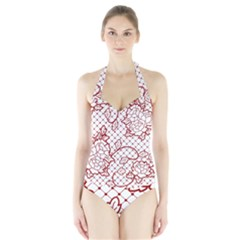 Transparent Decorative Lace With Roses Halter Swimsuit