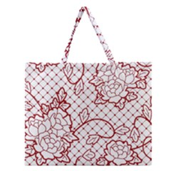Transparent Decorative Lace With Roses Zipper Large Tote Bag